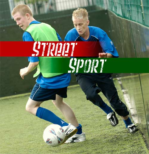 two forth valley street sport participants playing football