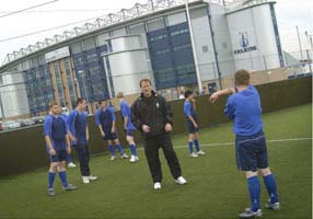 forth valley street sport participants training at Falkirk Football Club training ground